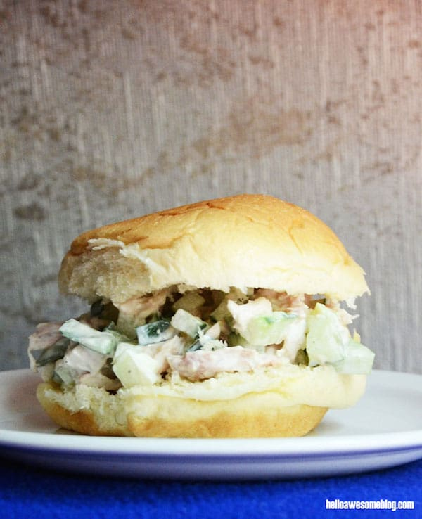 This chicken salad sandwich recipe is amazing - cucumber is the secret ingredient!