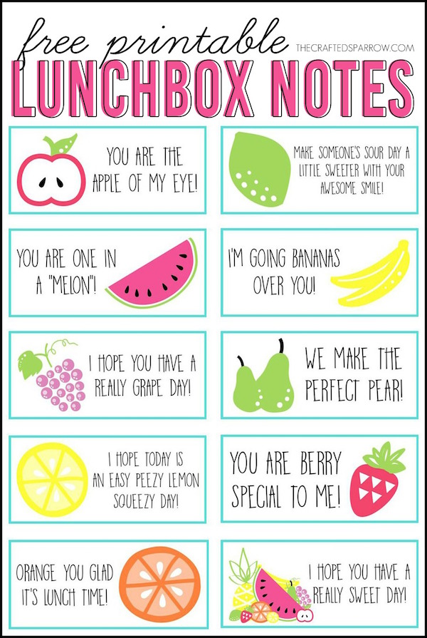 Fruit themed lunch box notes