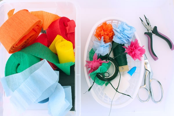 crepe streamers, scissors, floral wire