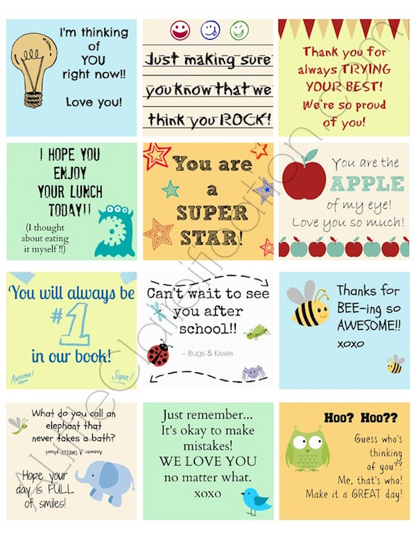 Encouraging lunch box notes for kids