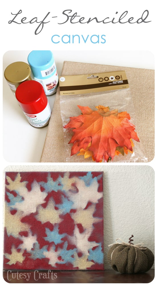 I love unique fall crafts, and this project definitely qualifies! Use spray paint and leaves to make fun canvas art.