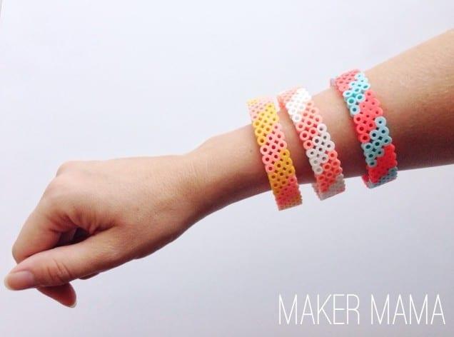 Perler bead bracelet on a wrist