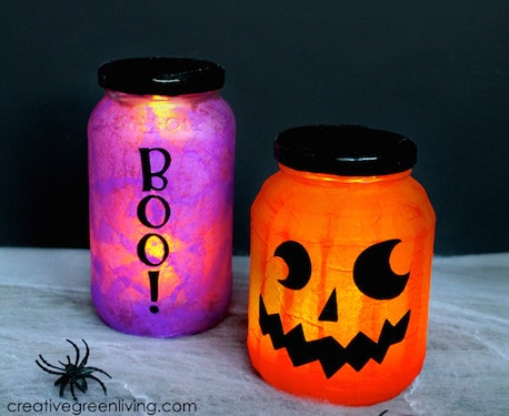 how to make upcycled Halloween Luminaries wide
