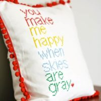 DIY Cross Stitch Pillow That Makes Me Happy