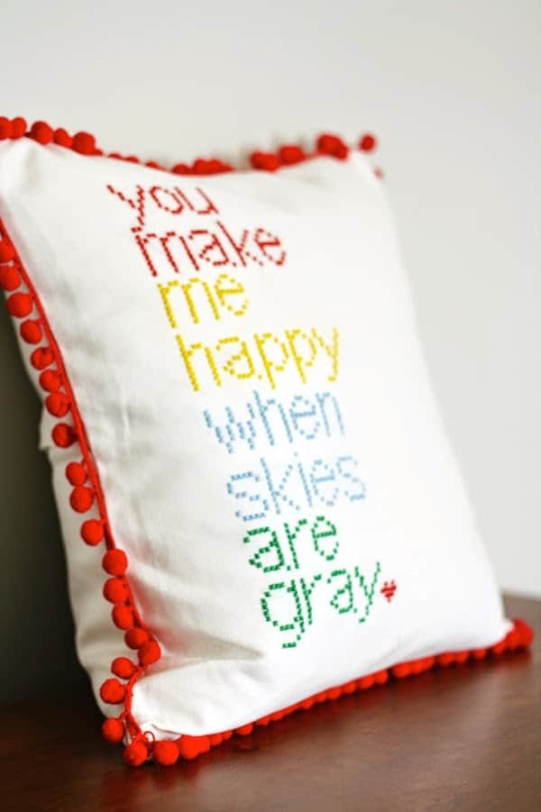 DIY cross stitch pillow