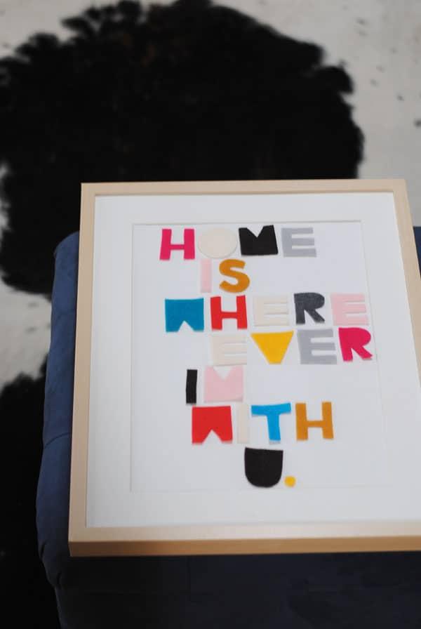 5 - arranging felt letters in frame
