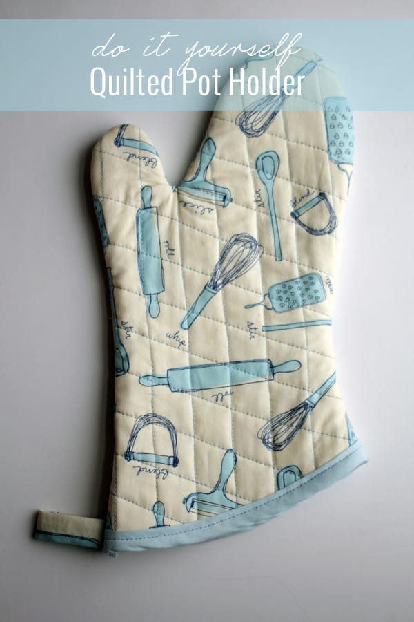 Make a cute, quilted DIY pot holder out of fun kitchen fabric!