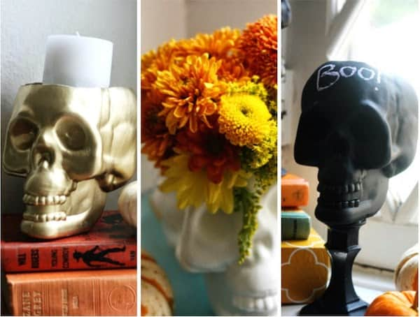 DIY upcycled dollar store skulls - so many options for Halloween decorating