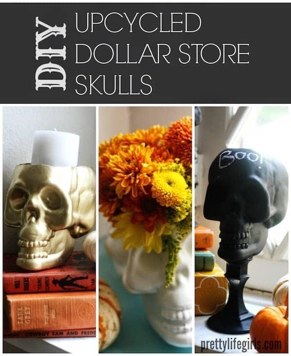 DIY upcycled dollar store skulls