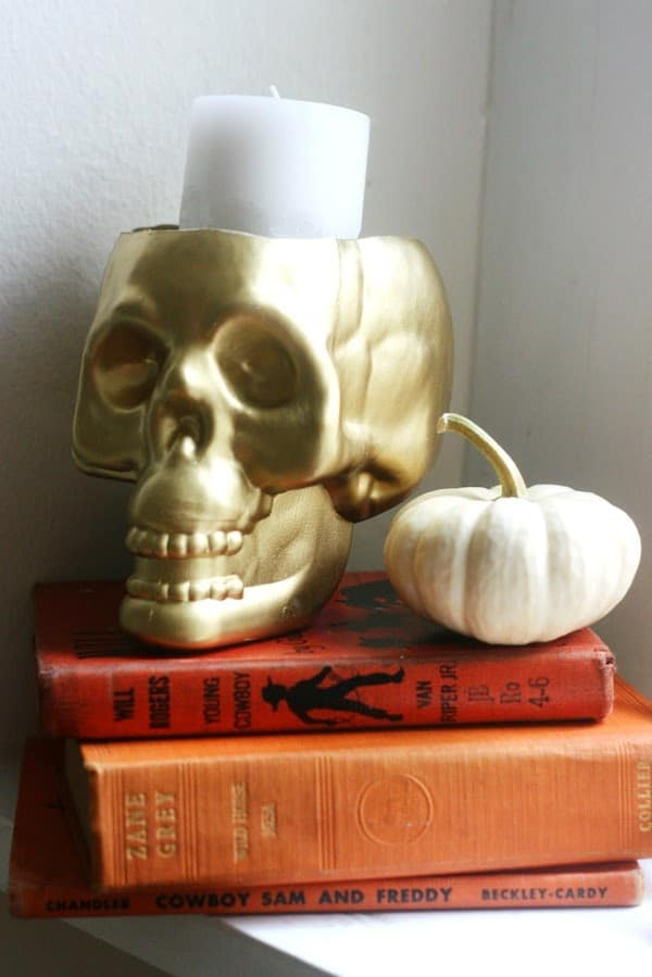 Gold DIY upcycled dollar store skull