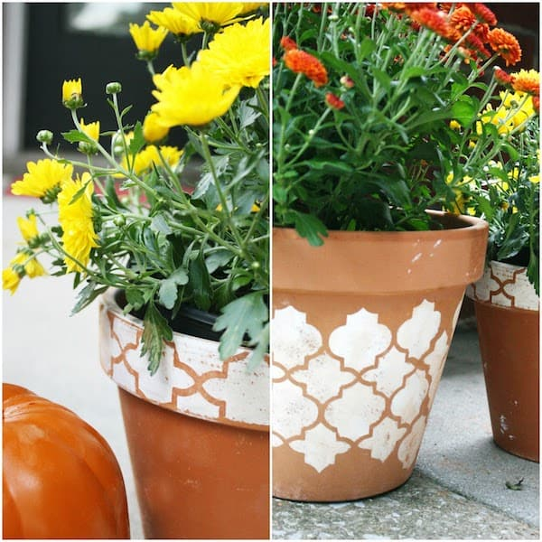 Learn how to stencil your clay pots for fall