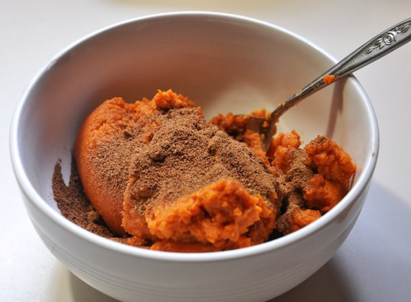 Mix pumpkin spice together with canned pumpkin puree