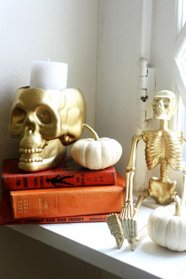 Upcycle a skull from the dollar store into a candleholder!