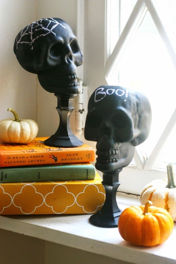 Upcycle dollar store skulls for Halloween