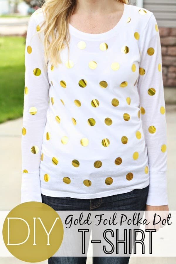 DIY gold foil polka dot t-shirt