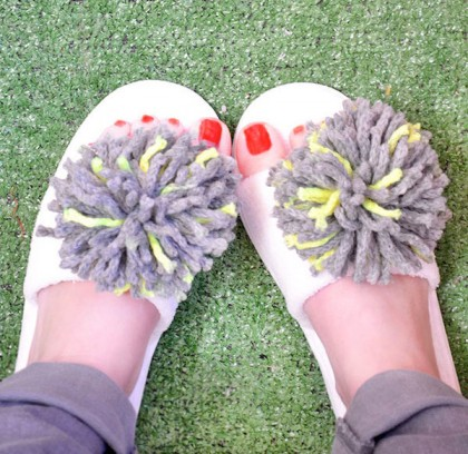 Super Cute DIY Pom Pom Slippers