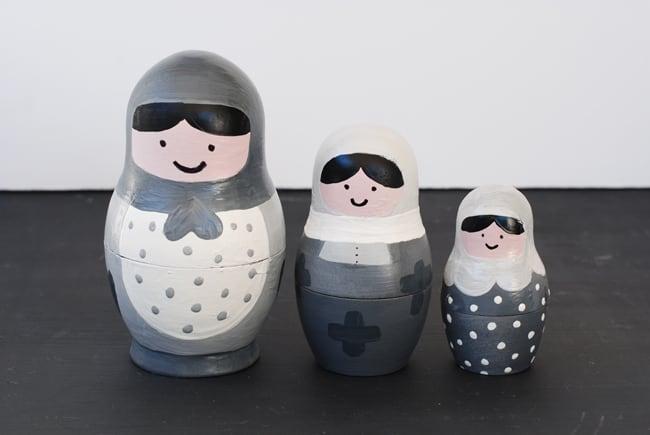 front of modern nesting dolls