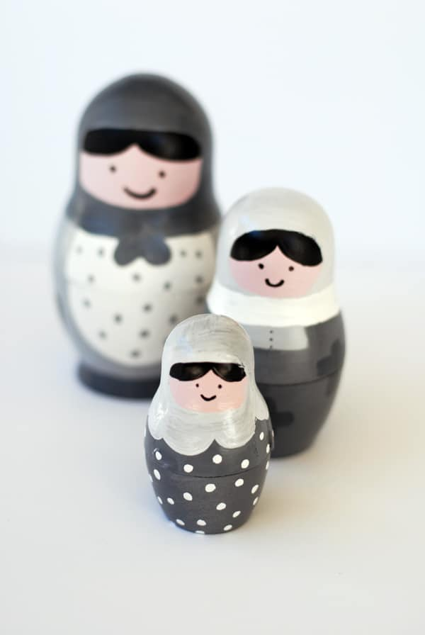set of three grey black white modern nesting dolls