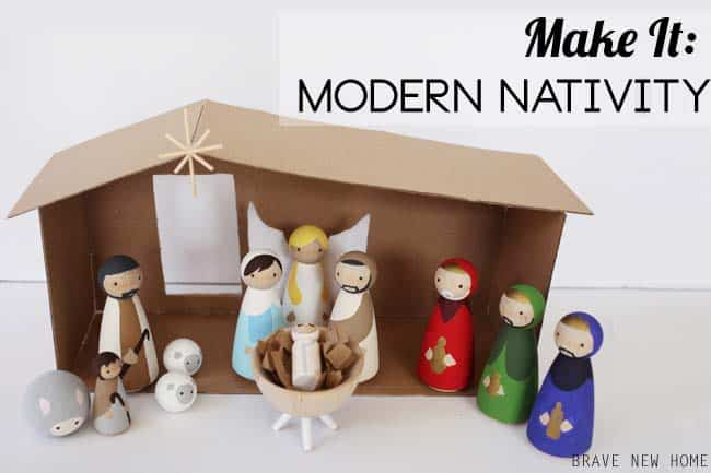 How to make a wooden diy nativity set diy candy this diy nativity set with wood peg dolls is budget friendly and not too kitschy solutioingenieria Gallery