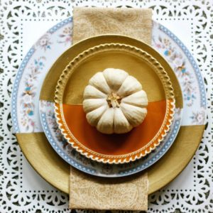 Pretty Gold Dipped Vintage Plates
