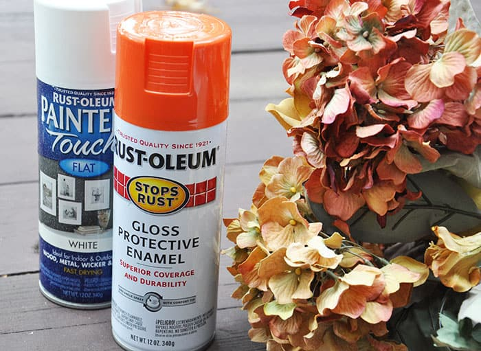 Supplies to paint artificial flowers with spray paint