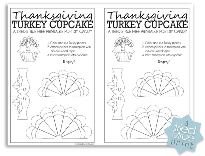 Thanksgiving Turkey Cupcake Free Printable - Coloring Page