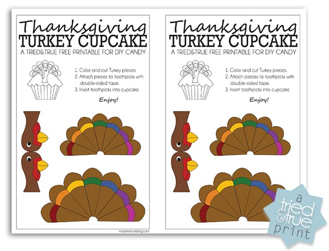 Thanksgiving Turkey Cupcake Free Printable - Color