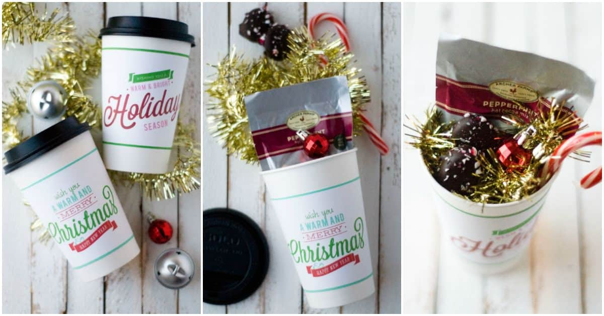 "Trying to figure out some great DIY ideas for Christmas neighbor gifts? This warm and and merry cup with a free printable sleeve can be filled with anything! Great for saying ""thank you"" or to welcome a new family to the neighborhood."