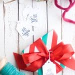 """These cute printable gift tags that say """"From Santa"""" are very simple and get the message across. Dress up a gift in minutes!"""