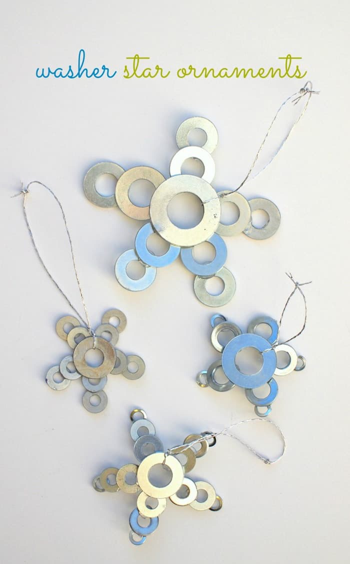 DIY Star Ornaments Made From Washers - diycandy.com