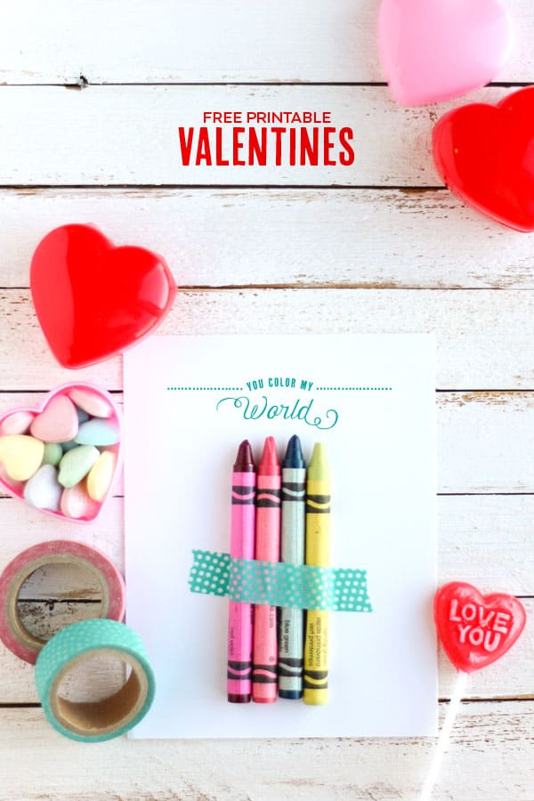 photograph relating to Printable Valentine Craft referred to as On your own Shade My World wide Absolutely free Printable Valentines - Do-it-yourself Sweet
