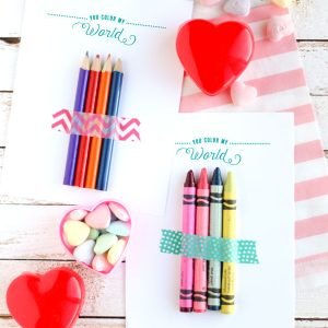 Use this cute free printable valentines card to give out in the classroom with a few crayons! Perfect non candy valentine idea!