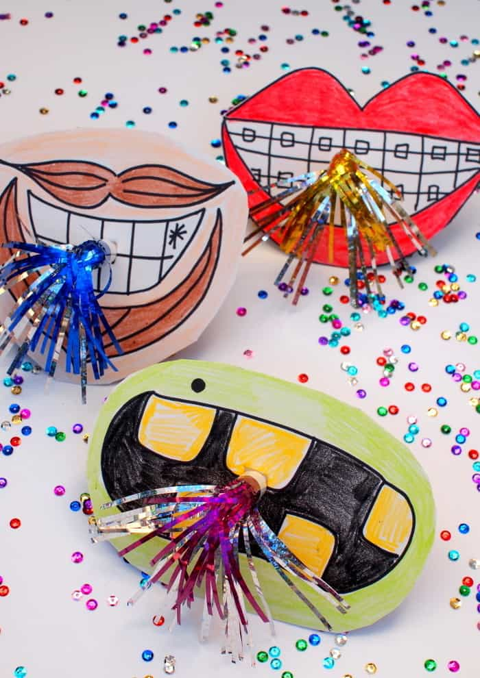 Create unique horn photo booth props with giant mouths! They're so cute and easy to make. The kids will want to help out too!