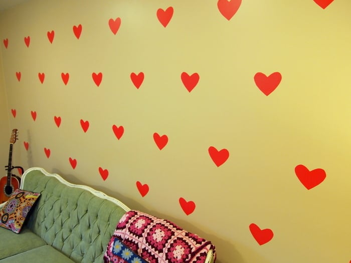 Temporary wall decals shaped like hearts
