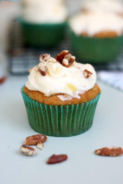 Try a delicious, new amazing recipe to usher in spring - Pineapple and Carrot Cake Cupcakes with Pineapple Cream Cheese frosting!