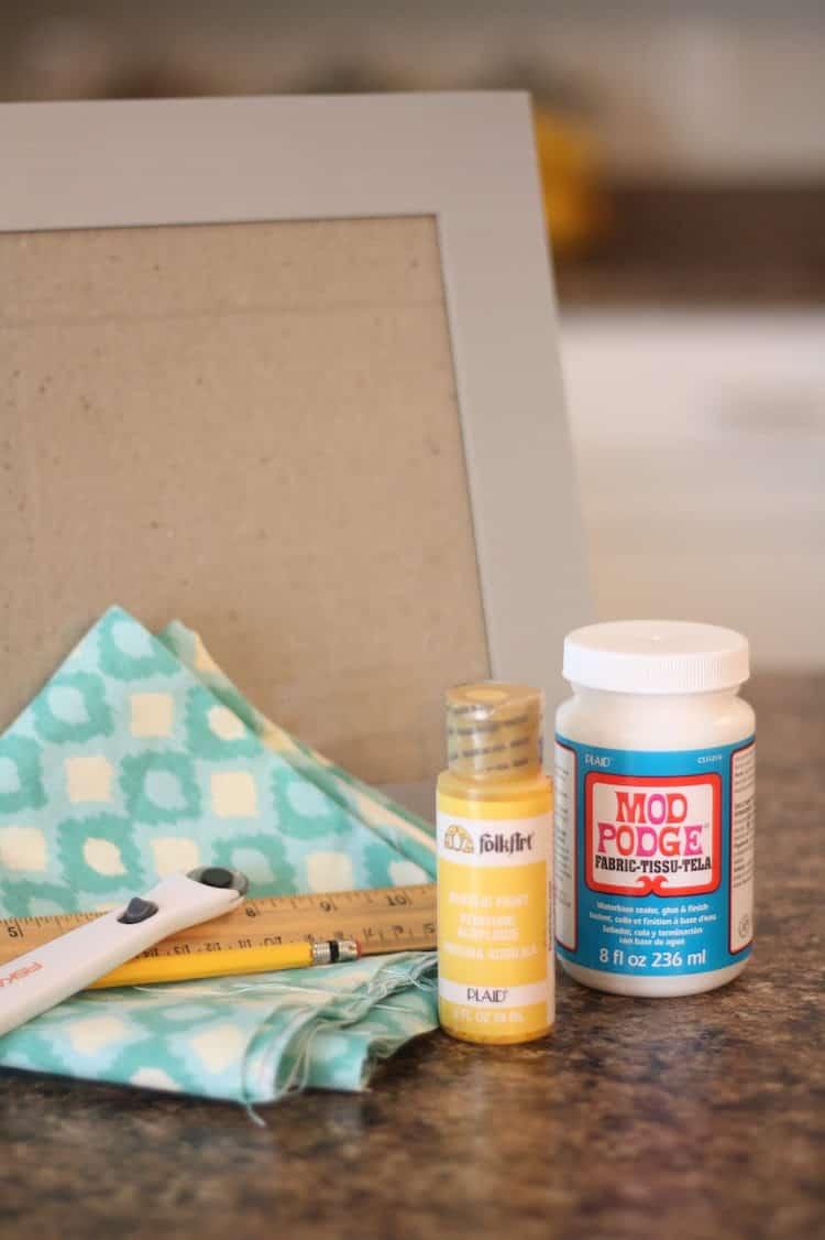 Fabric, ruler, pencil, FolkArt acrylic paint, cutter, Fabric Mod Podge