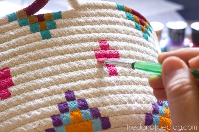 Kilim Inspired Painted Basket - End
