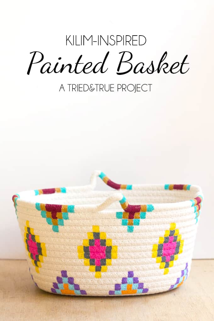Kilim-Inspired Painted Basket in Three Easy Steps!
