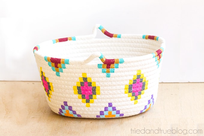 DIY Killim painted basket