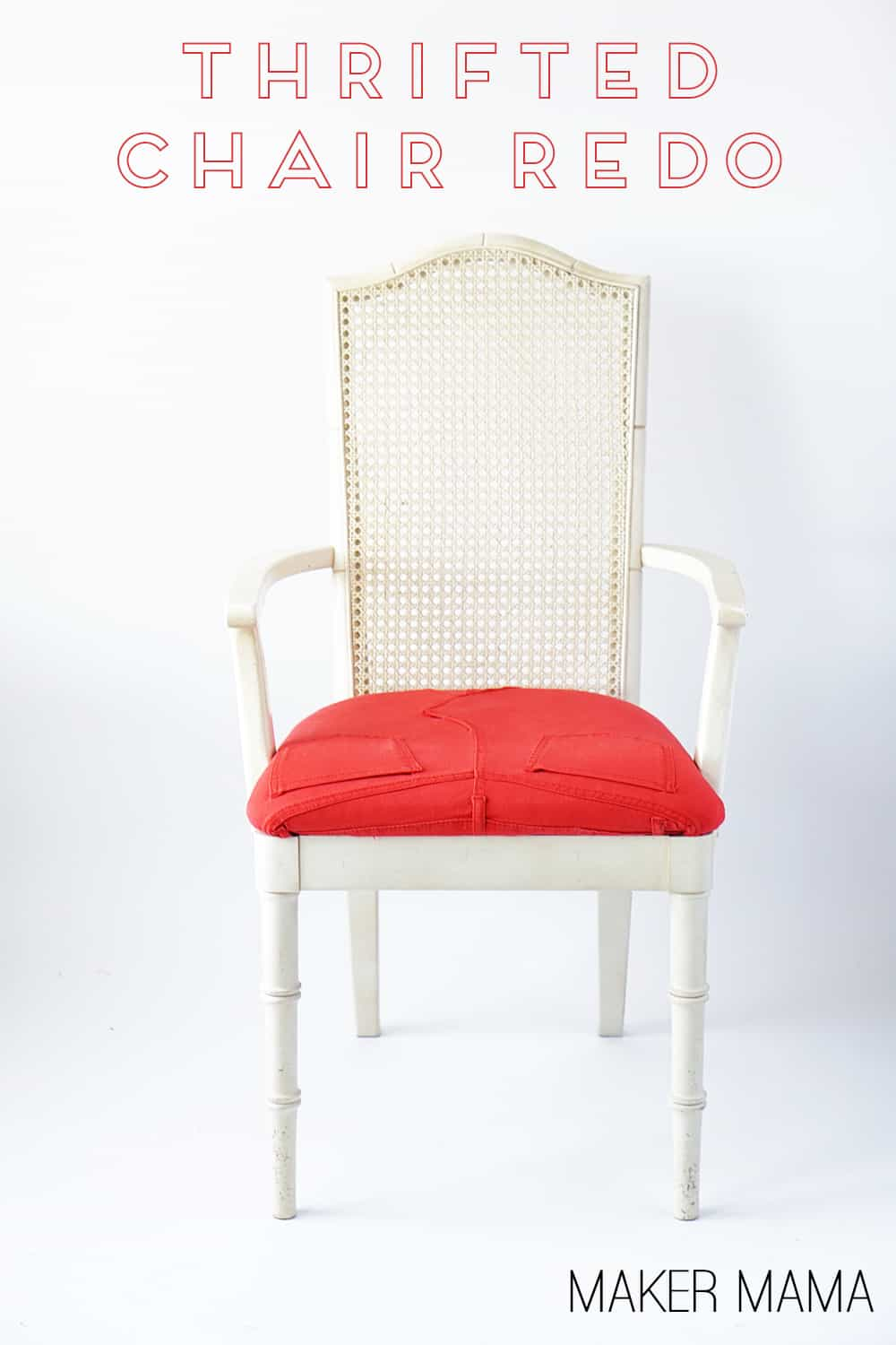 Learn how to upcycle a pair of colorful pants - reupholster a chair and give it a bright and fun new 'seat.'