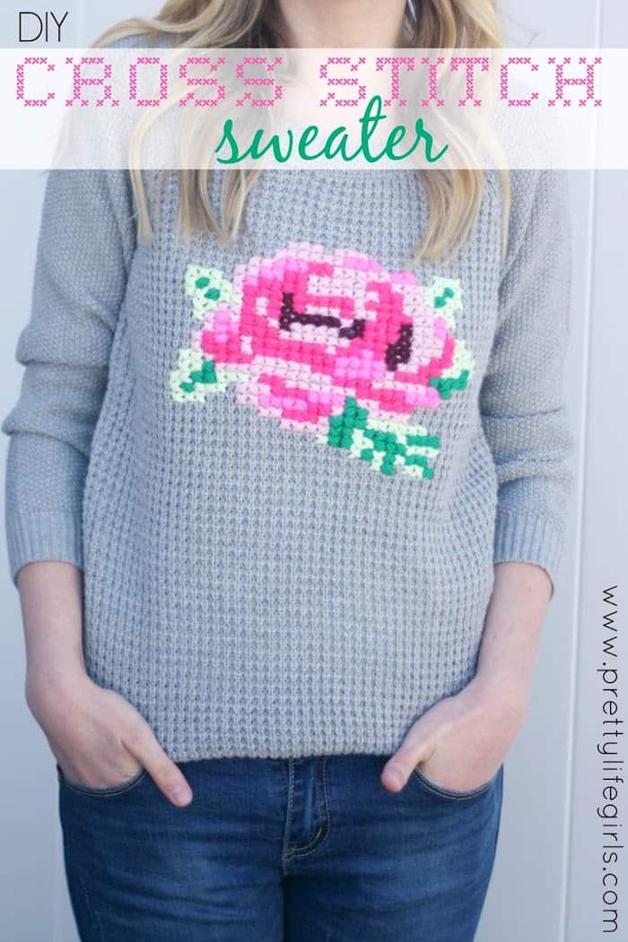 DIY Cross Stitch Flower Sweater - diycandy.com