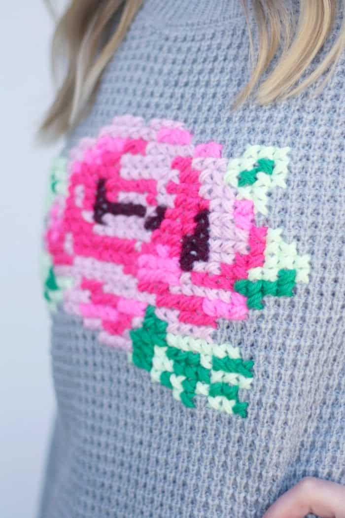 472666066adc6a Learn how to make this adorable and easy DIY cross stitch floral sweater  for under  10 ...