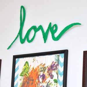 """Love"" Easy Wrapped Yarn Wall Art..."