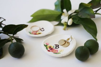 These hand painted air dry clay ring dishes are a sweet little craft, perfect for ushering in spring!
