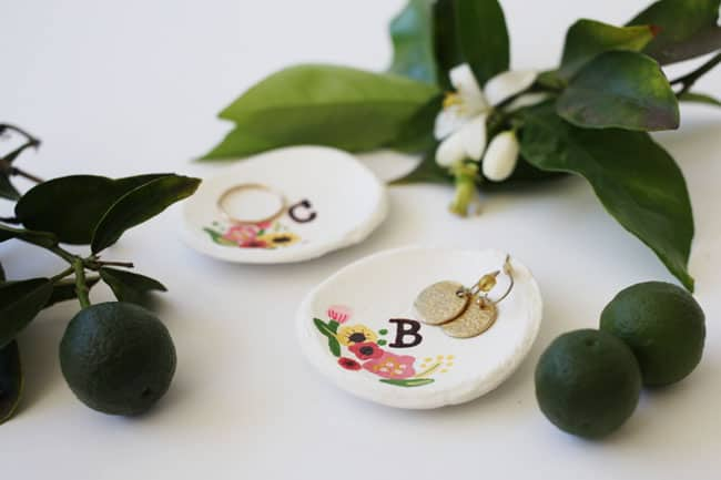 Hand Painted Floral Air Dry Clay Ring Dishes Diycandy Com