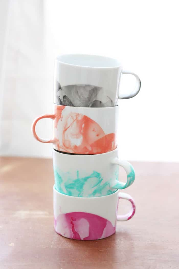 Diy marbled mugs with nail polish with video diy candy diy marbled mugs with nail polish stacked solutioingenieria Image collections