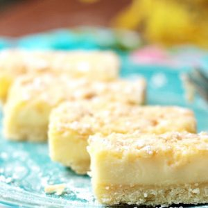 Lemon bars made from scratch on a plate