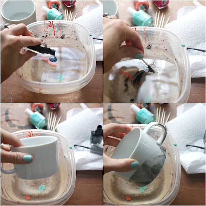 Process of making marbled mugs using nail polish
