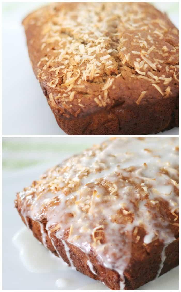 Make this delicious coconut banana bread recipe with tasty lemon glaze ...