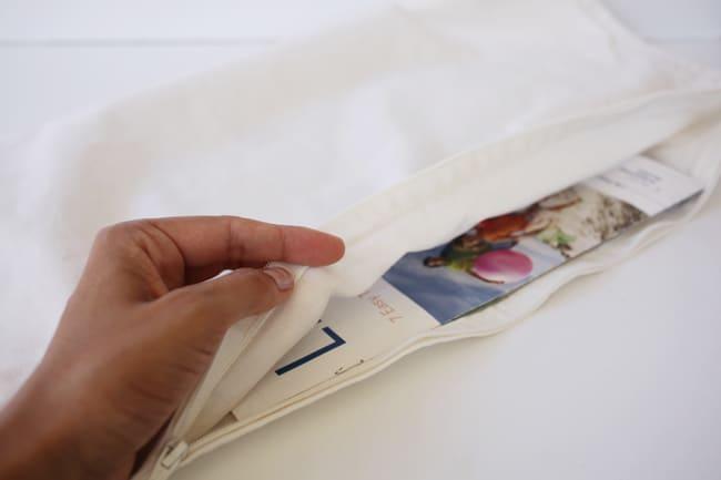 inserting-paper-between-pillowcase